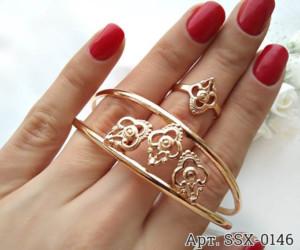 Комплект позолоченной бижутерии ажурный браслет и кольцо