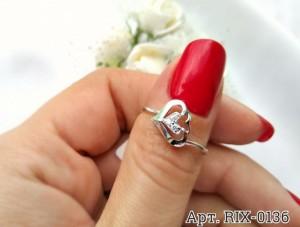 Кольцо родированное с фианитами RIX-0136 ювелирный сплав