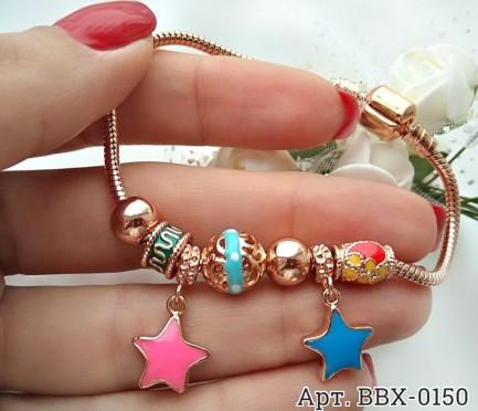 Позолоченный браслет с шармами звездочками