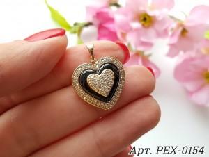 Кулон позолоченный с черной керамикой и фианитами в форме сердца