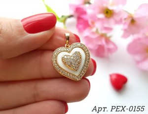 Кулон в виде сердца фианитовый с белой керамикой