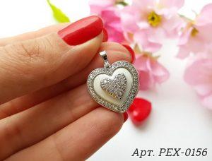 Кулон сердце родированный с белой керамической вставкой