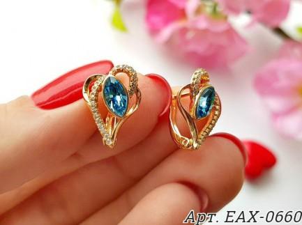Cерьги с цветными кристаллами Сваровски EAX-0660 цена