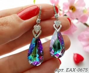 Cерьги родированные с кристаллами Swarovski EAX-0675 цена