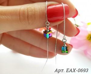 Cерьги-протяжки родированные с кристаллами Swarovski EAX-0693 цена
