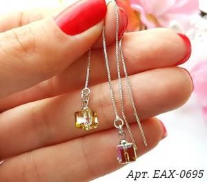 Cерьги-протяжки с цветными кристаллами Swarovski EAX-0695 цена