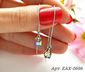 Cерьги-протяжки родированные с кристаллами Swarovski EAX-0696 купить