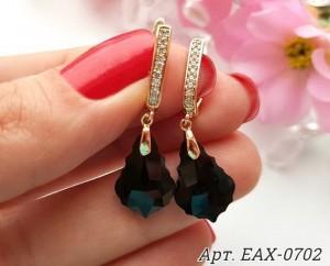 Cерьги позолоченные с черными кристаллами EAX-0702 цена