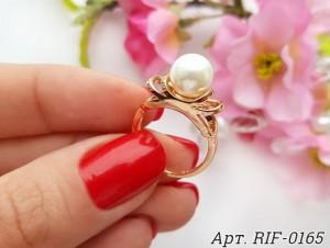 Кольцо с жемчугом позолоченное RIF-0165 вид сбоку