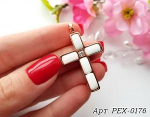 Кулон крест позолоченный с белой керамикой