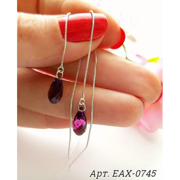 Серьги-протяжки родированные с кристаллами Сваровски EAX-0745 стоимость