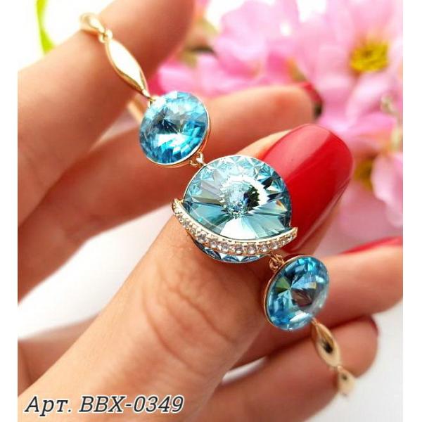 Браслет позолоченный с голубыми кристаллами Swarovski