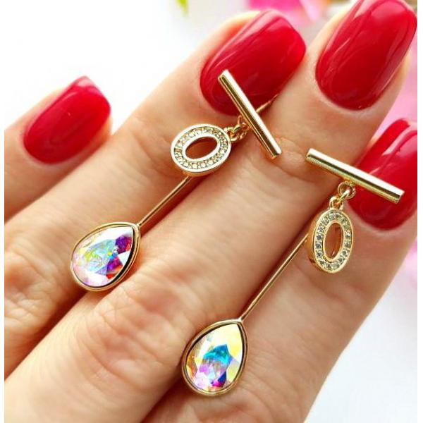 Серьги позолоченные с кристаллами Сваровски EAX-0756 цена