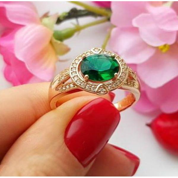 Кольцо позолоченное с цветным фианитом RIX-0169 купить