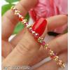 Браслет позолоченный с розовыми кристалами