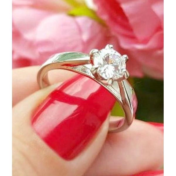 Кольцо родированное с фианитом RIF-0179 стоимость