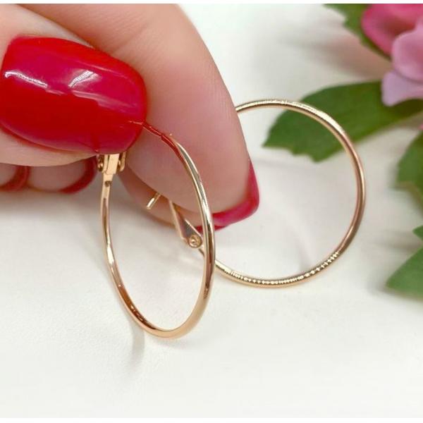 Серьги-кольца позолоченные EAF-0937 вид сбоку