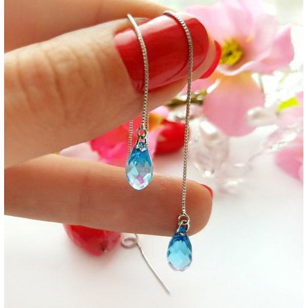 Cерьги-протяжки родированные с цветными кристаллами Swarovski EAX-0742 цена