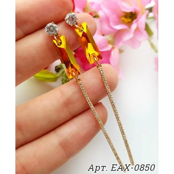 Cерьги позолоченные длинные с кристаллами Swarovski EAX-0850 цена