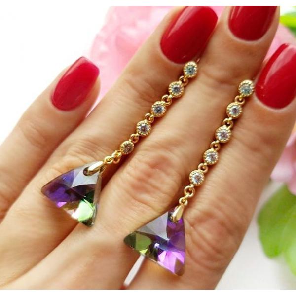 Cерьги длинные с кристаллами Сваровски EAX-0882 цена