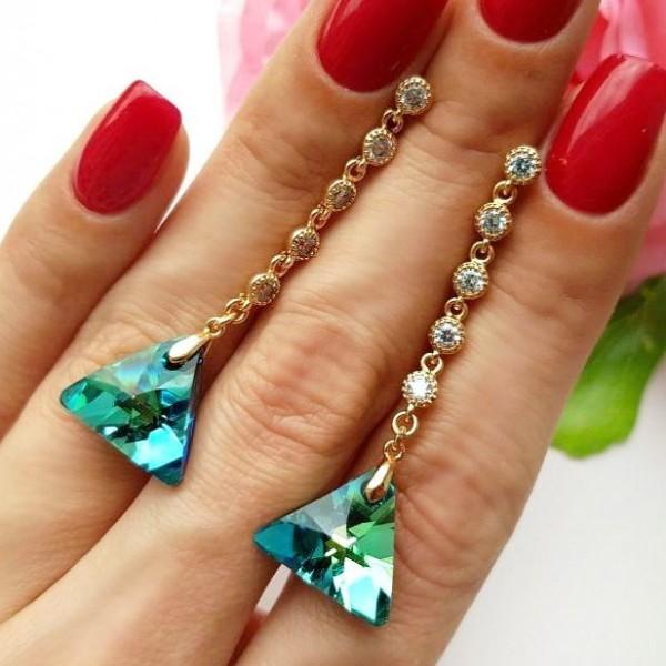 Cерьги позолоченные с кристаллами Сваровски EAX-0884 цена
