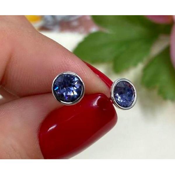 Cерьги-гвоздики родированные с цветными кристаллами EAX-0944 цена