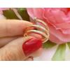 Кольцо с золотым покрытием и фианитовыми вставками RIF-0188 бижутерия