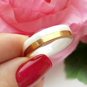 Кольцо керамическое с позолоченной вставкой RXI-032 позолоченное