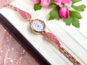 Часы позолоченные с розовыми эмалевыми вставками