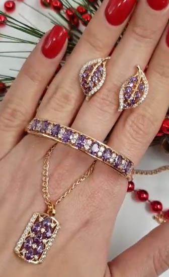 Комплект браслет, цепочка, серьги с розовыми фианитами