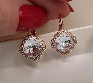 Cерьги позолоченные с кристаллами Сваровски EAX-0977 цена