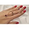 Комплект позолоченный кольцо, цепочка, серьги с красными фианитами