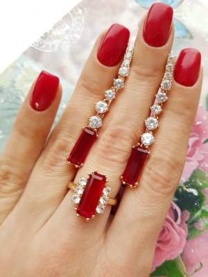 Комплект позолоченные серьги и кольцо с красными и белыми фианитами