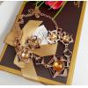 Комплект бижутерии с фианитами цвета янтаря