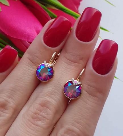 Серьги позолоченные с кристаллами Сваровски E-255 цена