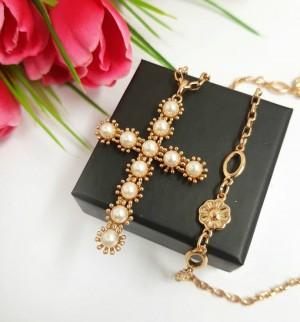 Крест-кулон с цепочкой позолоченный