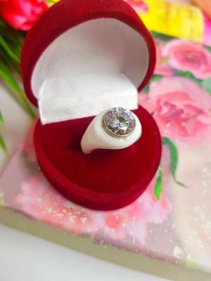 Кольцо керамическое с фианитом R-0008 купить
