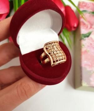 Кольцо с золотым покрытием R-0009 гипоаллергенная бижутерия