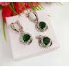 Комплект бижутерии родированной с зелеными фианитами