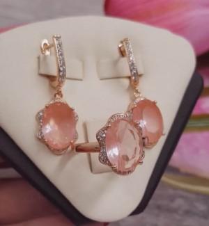 Комплект серьги и кольцо с розовыми фианитами