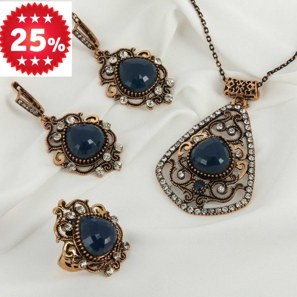 Комплект восточный кулон, серьги и кольцо с серым камнем