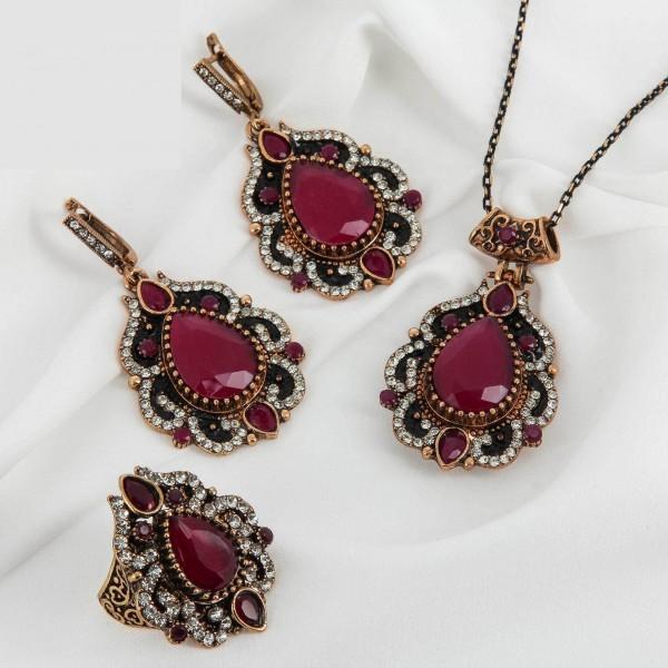 Комплект восточной бижутерии кольцо, кулон, серьги с бордовым камнем