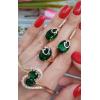 Комплект позолоченной бижутерии с зелеными фианитами