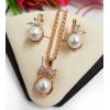 Комплект жемчужных позолоченных украшений серьги и кулон