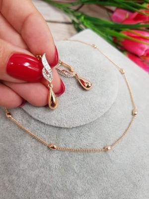 Комплект позолоченной бижутерии ожерелье и серьги с фианитами
