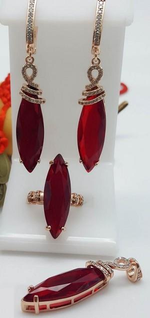 Комплект серьги, кольцо, кулон с красным фианитом