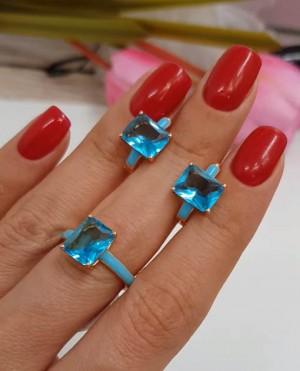 Комплект бижутерии с голубыми фианитами и эмалью