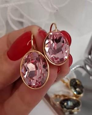 Cерьги позолоченные с кристаллами Swarovski E-351 цена