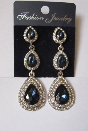 Серьги длинные с серебряным покрытием E-090-blue цена