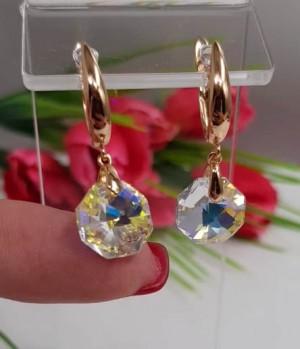 Cерьги позолоченные c кристаллами Swarovski E-361 цена